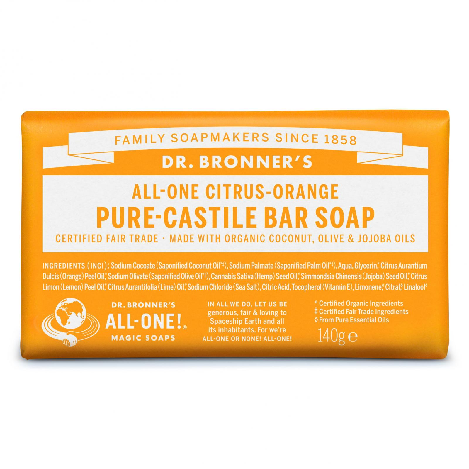 Tuhé mýdlo ALL-ONE Citrus-Orange 140g DR.BRONNER'S